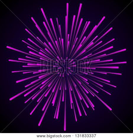 Star blast violet pink rays. Explosive vector illustration with dynamic shapes on black background