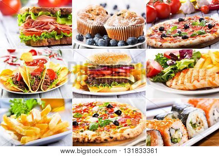 collage of various delicious fast food products