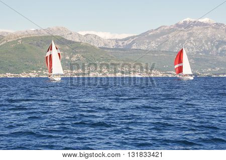 Yachts on the background of the mountain shore. Regatta