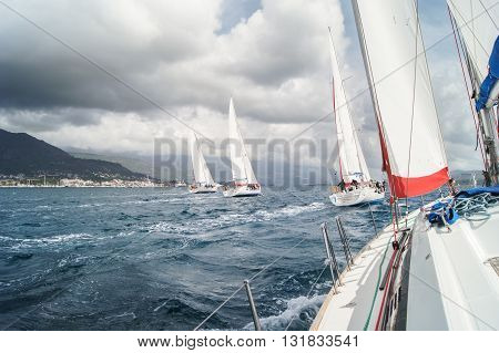 Tivat, Montenegro - 28 April, Sport sailing under a cloudy sky race, 28 April, 2016 Regatta