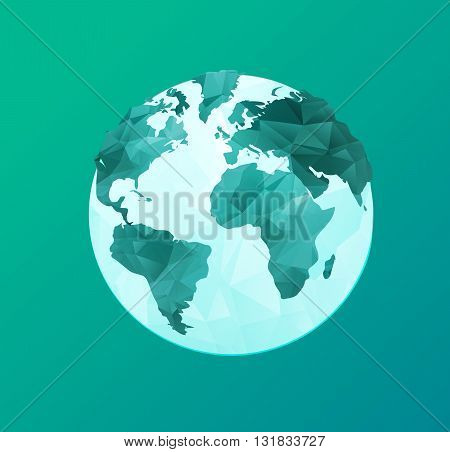 World Environment Day concept wit polygonal earth globe and stylish calligraphic text. Earth Day. Eco friendly ecology concept. Flat Vector illustration.