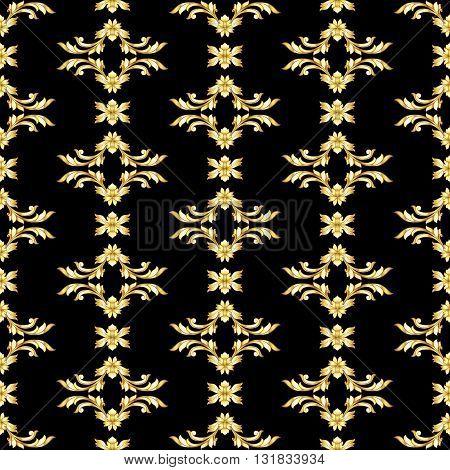 Seamless vertical gold floral pattern on black background