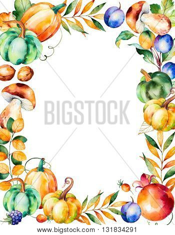 Beautiful watercolor frame border with fall leaves, branches, berry, blackberry, mushroom, pumpkins, walnut, pomegranate, prune and more.