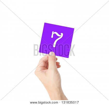 7 written on a card held by a hand