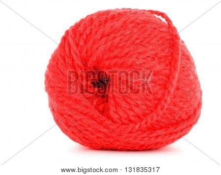 Roll of yarn red skein isolated on white background