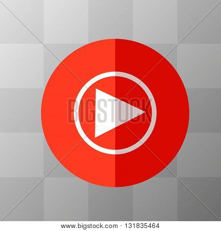 Flat Red Play Icon in Circle Frame for Web App Internet Smartphone Interface. Vector Button on Transparent Background