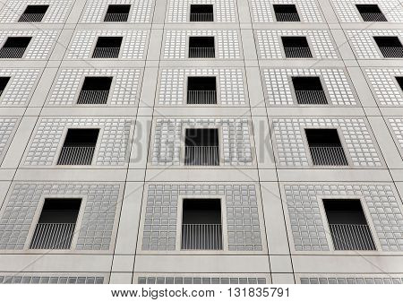 STUTTGART, GERMANY - APRIL 25, 2016: Look up at the facade of the city library in Stuttgart, Germany.