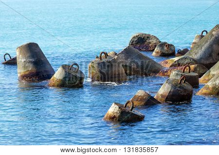 Tetrapods - massive concrete structures with four interlocking legs to protect the beaches from waves.