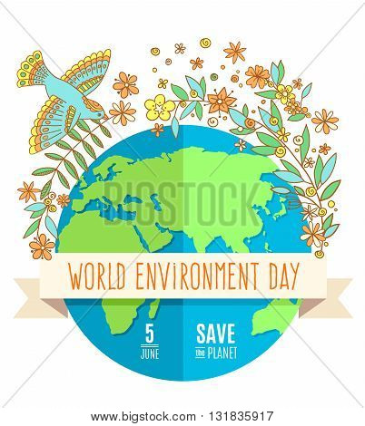 World environment day concept with mother earth globe and green leaves and flovers on white background. With an inscription Save the Planet 5 June. Vector Illustration.