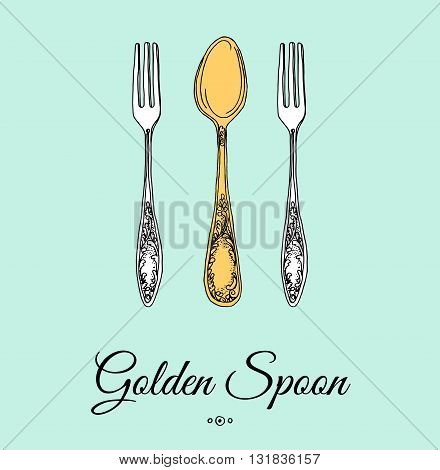 Hand drawn vector illustration of curly ornamental silver tableware, cutlery on mint background. Vector Illustration.