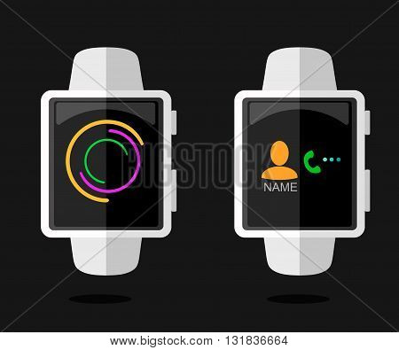 Smart Watch Concept with Interface . Flat Style. Isolated Objects. Modern Design. Vector Illustration.