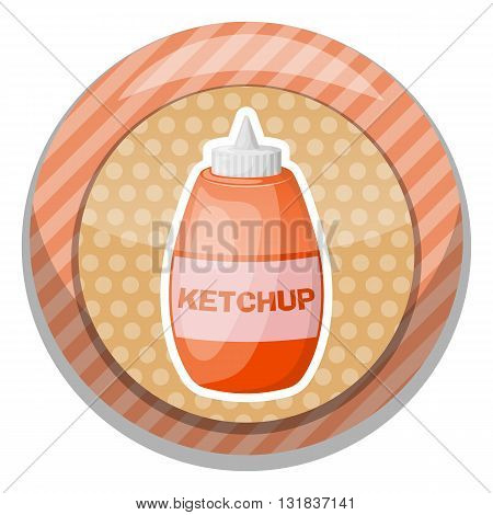 Ketchup colorful icon. Vector illustration in cartoon style