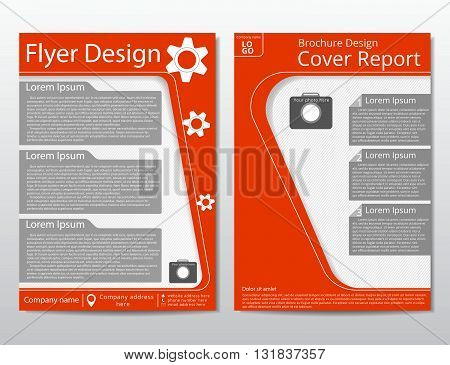 Vector flyer brochure design geometric template abstract. Material style. White orange color. A4 size.