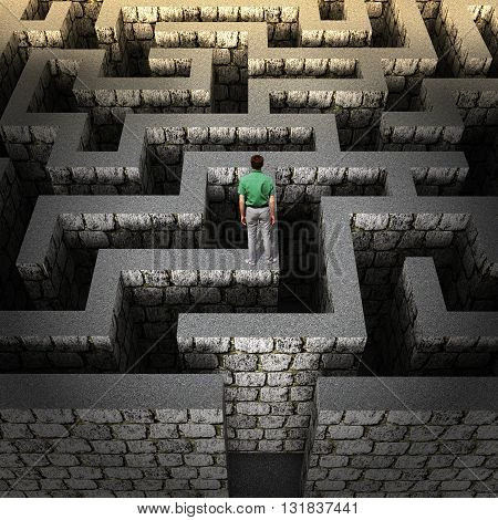 man stands on the maze, concept of solving the problem
