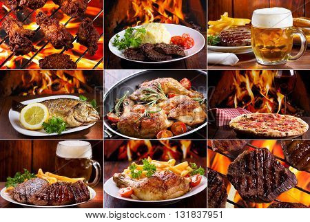 collage of various meals with meat fish and chicken