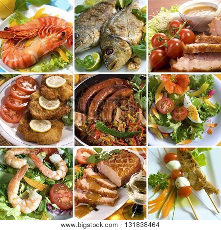Food Collage of sea foods arranged with garnish