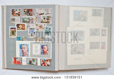 Uzhgorod, Ukraine - Circa April, 2016: Collection Of Postage Stamps In Album Printed From Ussr, Circ