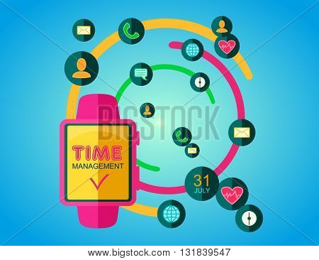 Time Management Concept. Smart Watch with Icons and Buttons. Flat Style. Vector Illustration.