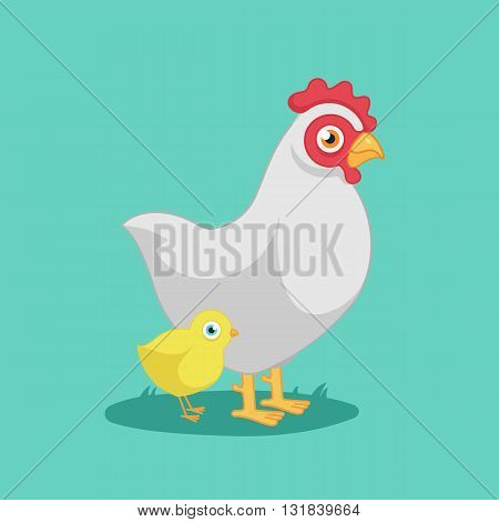 hen with chicken, cartoon, funny bird, farm.Vector Illustration of hen with chicken.isolated on white background.