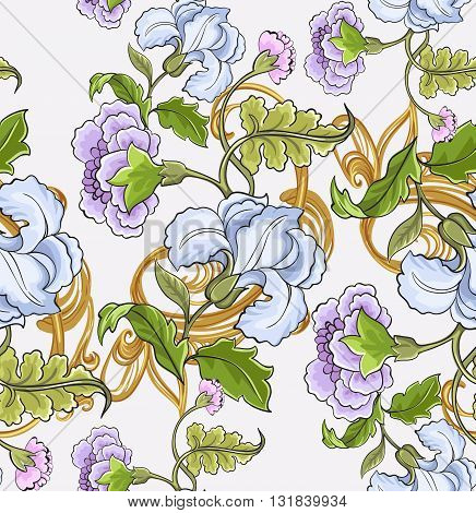 Decorative floral ornament with baroque pattern on a white background.