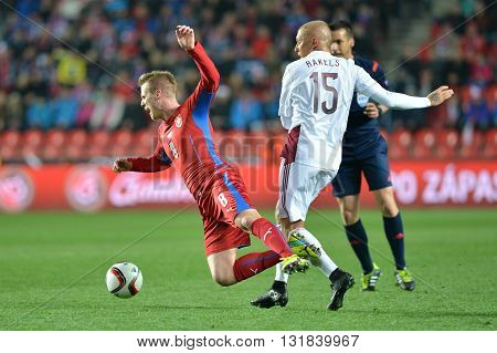 Prague 28.03.2015 _  Deniss Rakels foul on David Limbersky. Match of the EURO 2016 qualification group A Czech Republic - Latvia 1:1 (0:1). Goals 90 'Pilar - 30' Višnakovs.