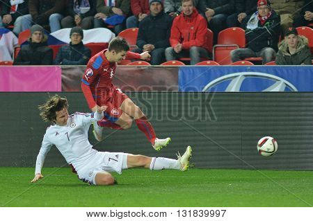 Prague 28.03.2015 _ Vaclav Pilar and Janis Ikaunieks. Match of the EURO 2016 qualification group A Czech Republic - Latvia 1:1 (0:1). Goals 90 'Pilar - 30' Višnakovs.
