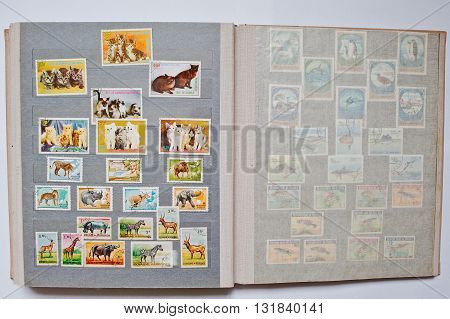 Uzhgorod, Ukraine - Circa April, 2016: Collection Of Postage Letter With Stamps In Album Printed Fro