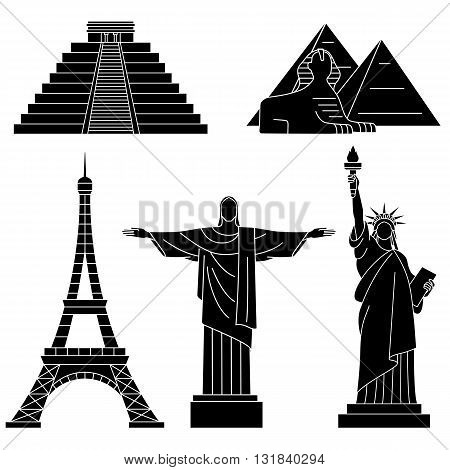World Landmarks, Eiffel Tower, Chichen Itza, Christ the Redeemer, Sphinx. Vector flat icons set.