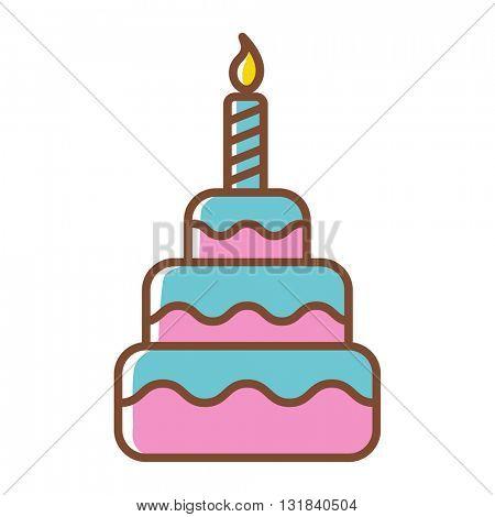 Birthday cake icon. Vector