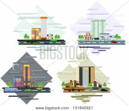 Urban and village landscapes. Four flat vector illustration