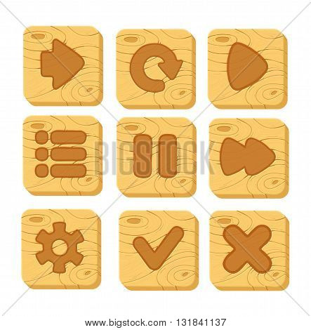 Set of wooden buttons with web icons, isolated vector elements. wooden gui elements, vector isolated games assets