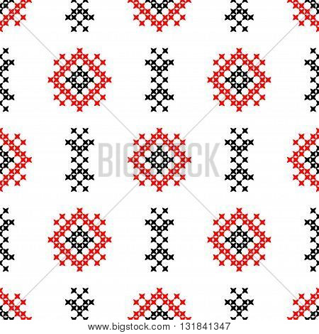 Isolated seamless texture with red and black abstract patterns for cloth.Embroidery.Cross stitch.
