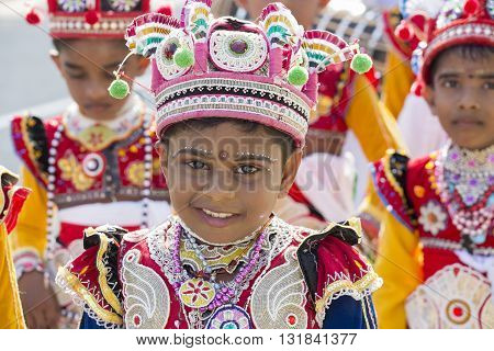 MIRISSA SRI LANKA - NOVEMBER 6 2014: Unidentified children involved in the Katina festival which held according to the buddhist culture in full moon day