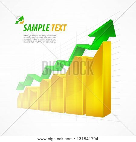 Chart With Arrow & Text On White