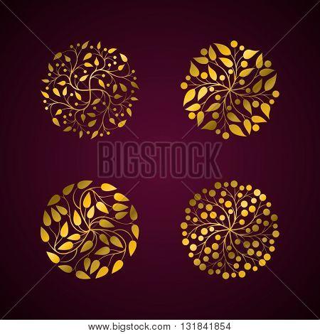 Vector simple elegant round floral design set.