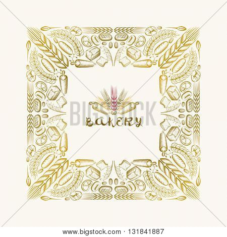Vector hand drawn frame. Border is made with bakery elements.