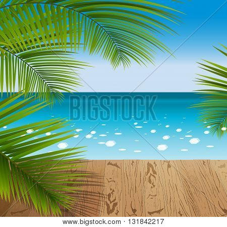 Sunny summer day in a tropical Paradise green palm leaves on the wooden pattern flooring. Blue ocean seascape with sun shine.