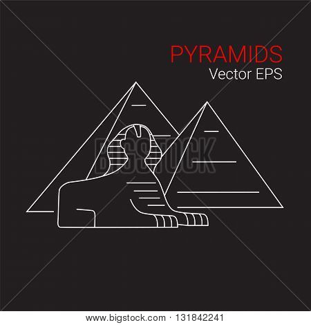 Sphinx and Pyramid, Egypt. Vector line icon isolated.
