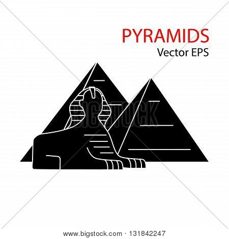 Sphinx and Pyramid, Egypt. Vector flat icon isolated on white background.