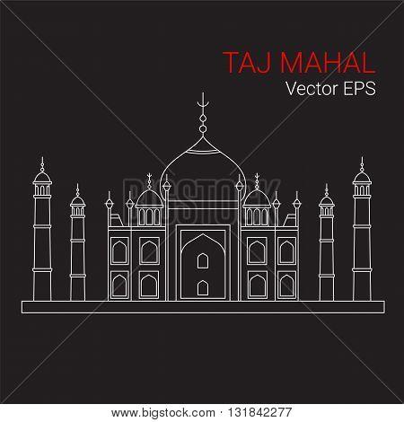 Taj Mahal, India. Vector line flat icon isolated on black background.