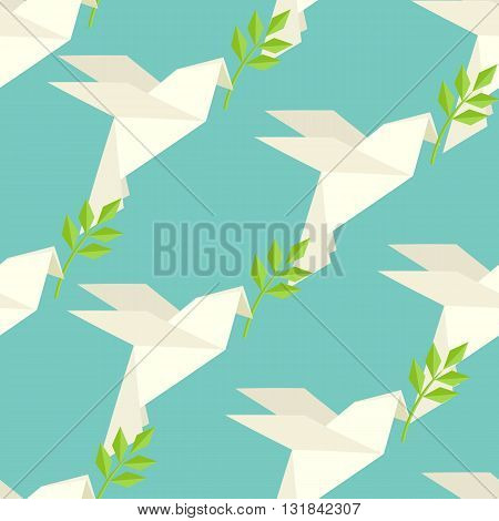 Origami dove flies and carries a twig on pattern