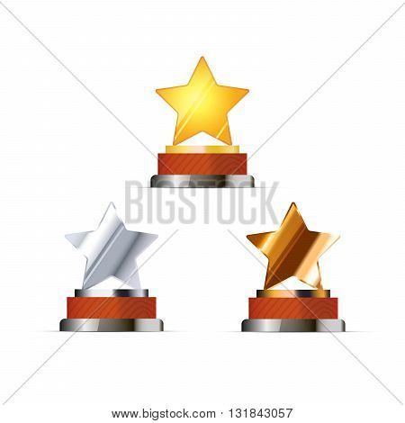 Set of awards for winners with golden silver and bronze stars isolated on white