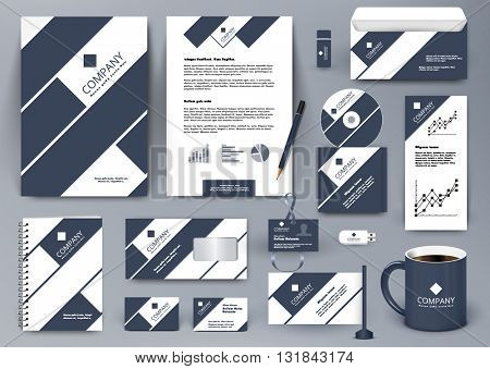 Professional universal branding design kit with dark blue and white tape lines. Business stationery mockup. Editable vector illustration: folder, mug, etc.
