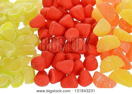 top view of mixed candy making a background