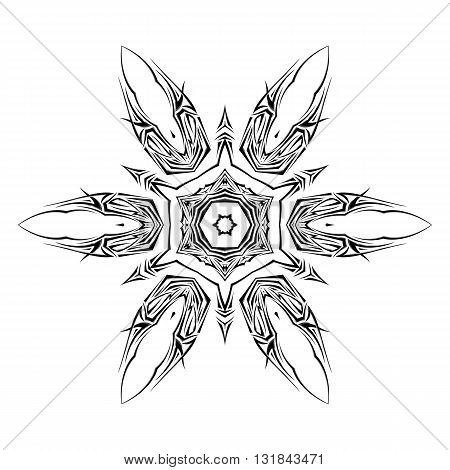 Sketch of tattoo as shuriken on the white background