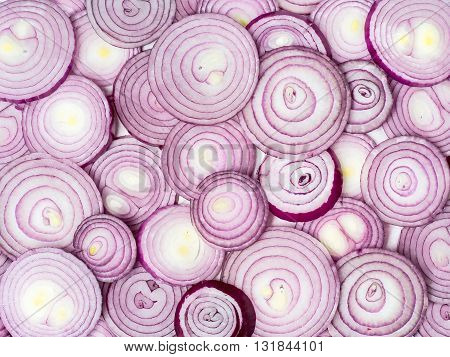 Background photo of many sliced red onions.