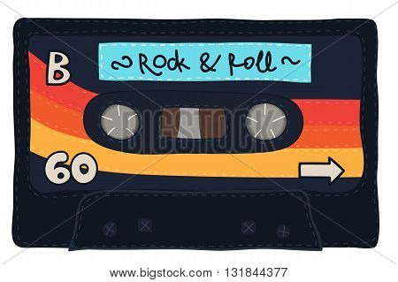 Vintage Cassette Tape Stitched Together
