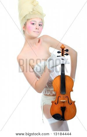 Portrait of an artistic young woman posing with violin. Isolated over white background.