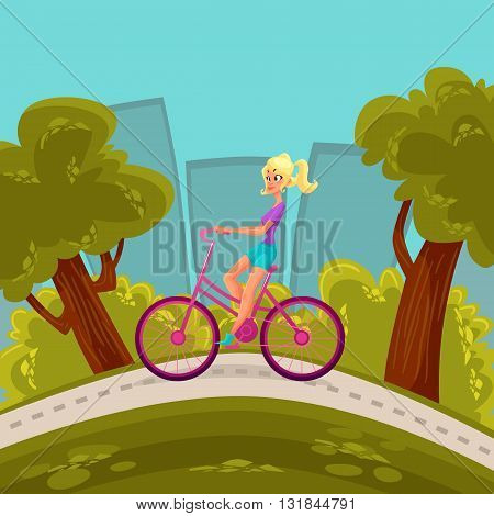 Girl rides a bicycle through the city, vector cartoon comic illustration blond girl moves around the city by bike, a bike ride around the city park