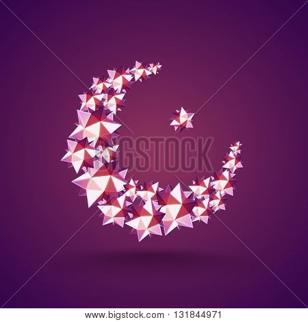 Creative Crescent Moon made by glossy stylish stars on purple background, Concept for Islamic Festivals celebration.